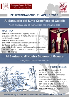 Locandina Ufficiale Pellegrinaggio Ss. Crocifisso di Galtellì 2013 - Foto di Sardegna Terra di Pace - Tutti i diritti riservati