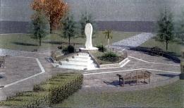 San Nicolò d'Arcidano: progetto (prospetto frontale) della piazza e statua della Regina della Pace – Foto di Sardegna Terra di Pace – Tutti i diritti riservati