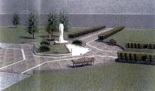 San Nicolò d'Arcidano: progetto (prospetto laterale destro) della piazza e statua della Regina della Pace – Foto di Sardegna Terra di Pace – Tutti i diritti riservati