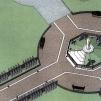 San Nicolò d'Arcidano: progetto (vista superiore) della piazza e statua della Regina della Pace – Foto di Sardegna Terra di Pace – Tutti i diritti riservati