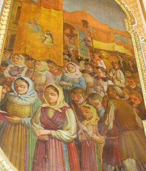 Mogoro: affresco della processione di riparazione Eucaristica presso la Chiesa di San Bernardino
