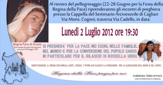 Locandina Incontro di Preghiera Settimanale del 2 Luglio 2012