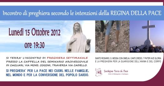 Locandina Incontro di Preghiera Settimanale del 15 Ottobre 2012