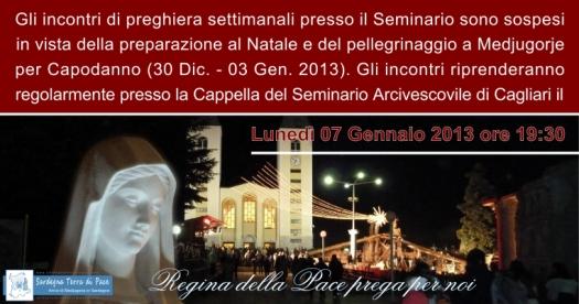 Avviso Incontro di Preghiera Settimanale del 7 Gennaio 2013
