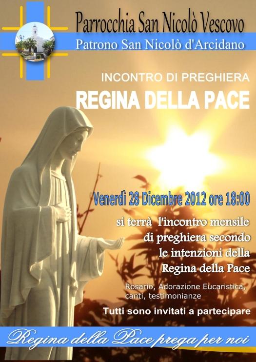 Locandina Incontro di Preghiera Mensile del 28 Dicembre 2012