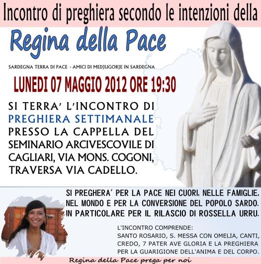 Locandina Incontro di Preghiera Settimanale del 7 Maggio 2012
