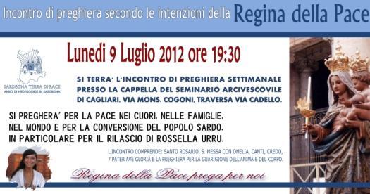 Locandina Incontro di Preghiera Settimanale del 9 Luglio 2012