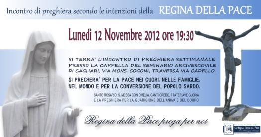 Locandina Incontro di Preghiera Settimanale del 12 Novembre 2012