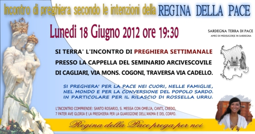Locandina Incontro di Preghiera Settimanale del 18 Giugno 2012