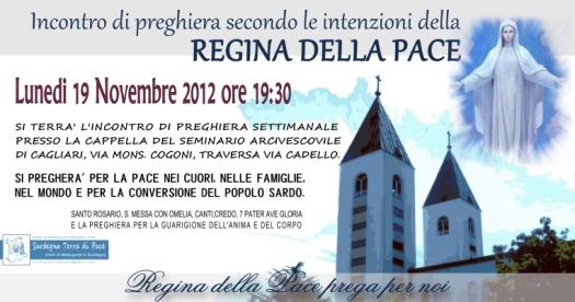 Locandina Incontro di Preghiera Settimanale del 19 Novembre 2012