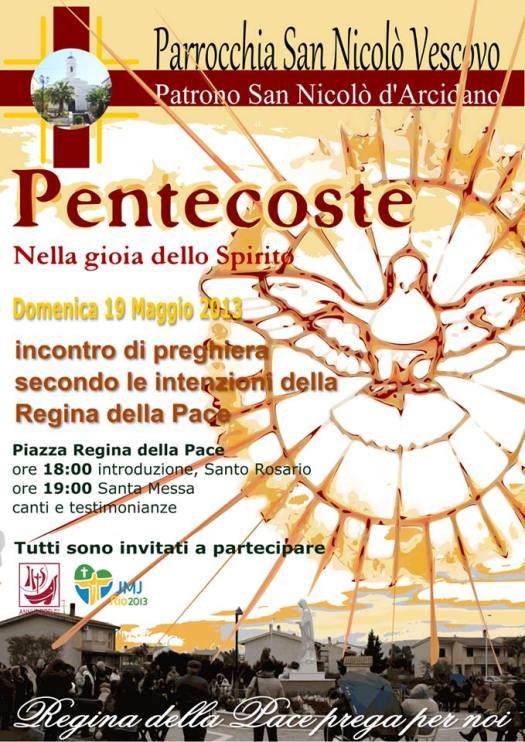 Pentecoste: Incontro di Preghiera a San Nicolò d'Arcidano 19/05/2013