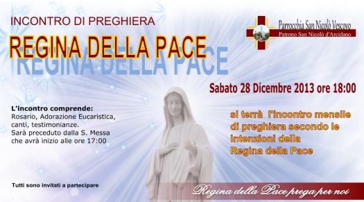 Locandina Incontro di Preghiera Mensile di Dicembre 2013