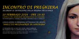 Locandina Incontro di Preghiera Settimanale del 10 Febbraio 2014