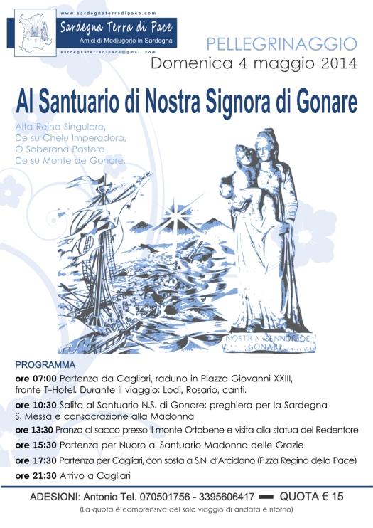 Locandina Pellegrinaggio N. S. di Gonare 2014 - Foto di Sardegna Terra di Pace – Tutti i diritti riservati