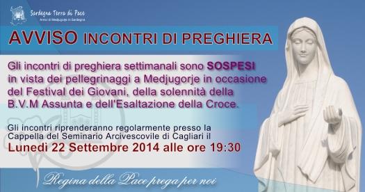 Avviso Incontri di Preghiera Agosto 2014