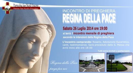 Locandina Incontro di Preghiera Arcidano Luglio 2014