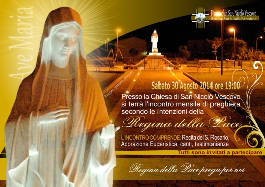 Locandina Incontro di Preghiera Arcidano Agosto 2014