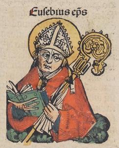 Sant'Eusebio di Vercelli, illustrazione tratta dalle Cronache di Norimberga - Scansione di Michel Wolgemut, Wilhelm Pleydenwurff - Pubblico Dominio