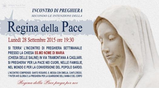 Locandina Incontro di Preghiera Settimanale del 28 Settembre 2015