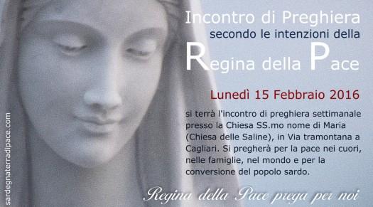 Locandina Incontro di Preghiera Settimanale del 15 febbraio 2016