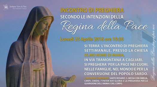 Locandina Incontro di Preghiera Settimanale del 25 aprile 2016