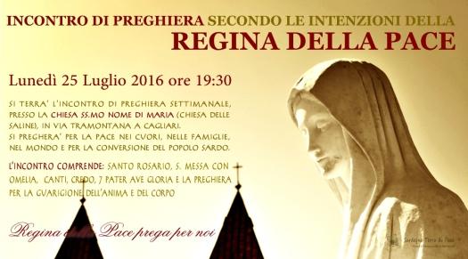 Locandina Incontro di Preghiera Settimanale del 25 Luglio 2016