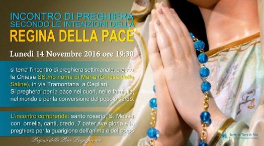 Locandina Incontro di Preghiera Settimanale del 14 Novembre 2016