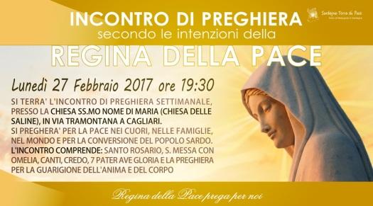 Locandina Incontro di Preghiera Settimanale del 27 Febbraio 2017