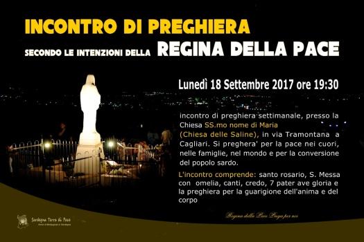 Locandina Incontro di Preghiera Settimanale del 18 Settembre 2017