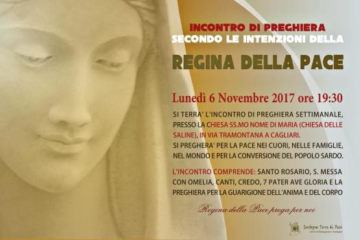 Locandina Incontro di Preghiera Settimanale del 06 novembre 2017
