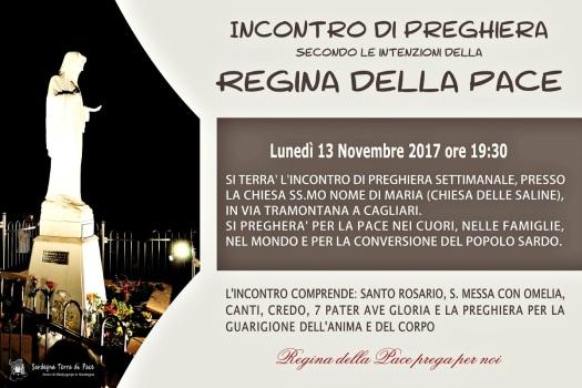 Locandina Incontro di Preghiera Settimanale del 13 novembre 2017