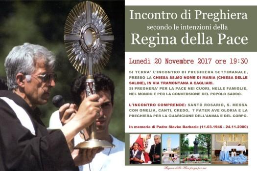 Locandina Incontro di Preghiera Settimanale del 20 novembre 2017