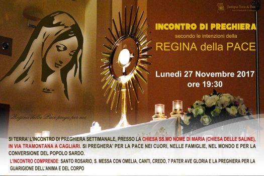 Locandina Incontro di Preghiera Settimanale del 27 novembre 2017