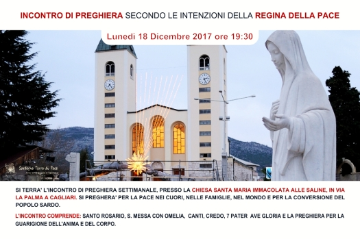 Locandina Incontro di Preghiera Settimanale del 18 dicembre 2017