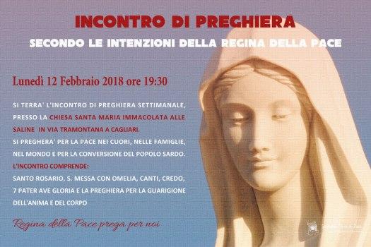 Locandina Incontro di Preghiera Settimanale del 12 Febbraio 2018