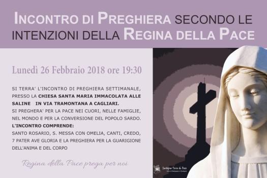 Locandina Incontro di Preghiera Settimanale del 26 Febbraio 2018