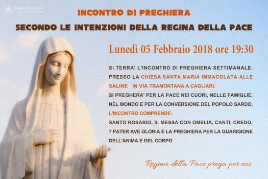 Locandina Incontro di Preghiera Settimanale del 5 Febbraio 2018