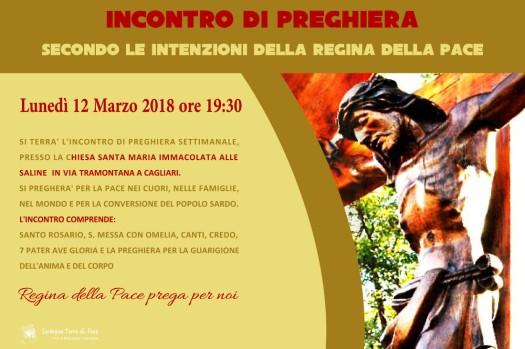 Locandina Incontro di Preghiera Settimanale del 12 Marzo 2018