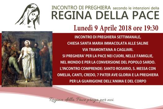Locandina Incontro di Preghiera Settimanale del 9 Aprile 2018
