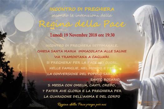 Locandina Incontro di Preghiera Settimanale del 19 Novembre 2018