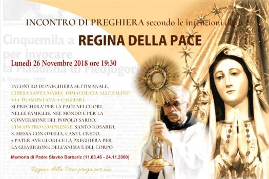 Locandina Incontro di Preghiera Settimanale del 26 Novembre 2018
