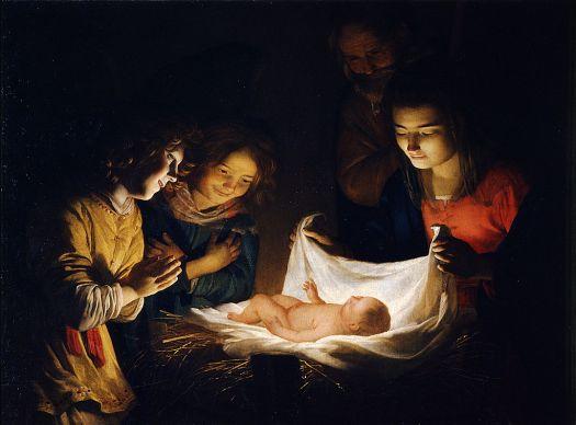 Adorazione del Bambino - Opera di Gerard van Honthorst - Pubblico Dominio
