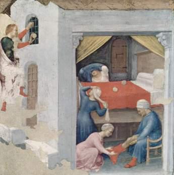 San Nicola dona tre palle d'oro alle fanciulle povere (Polittico Quaratesi) - Opera di Gentile da Fabriano - Pubblico Dominio