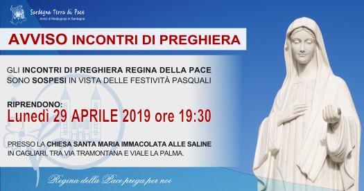 Avviso Incontro di Preghiera Settimanale Aprile 2019