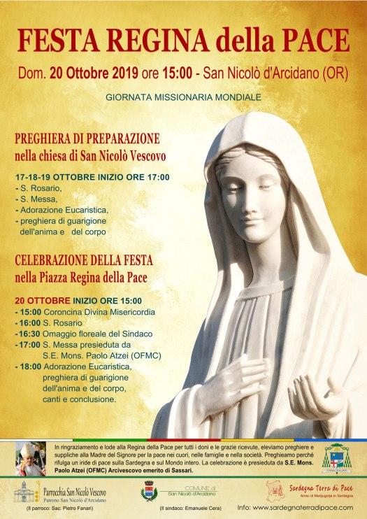 Locandina Festa Regina della Pace