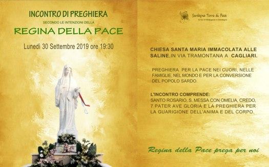 Locandina incontro di preghiera settimanale del 30 Settembre 2019