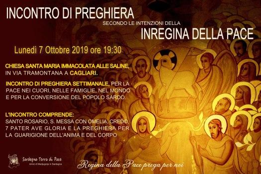 Locandina incontro di preghiera settimanale del 7 Ottobre 2019