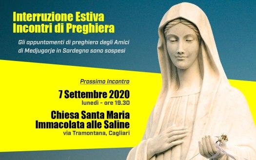 Sospensione Incontri Preghiera Agosto 2020