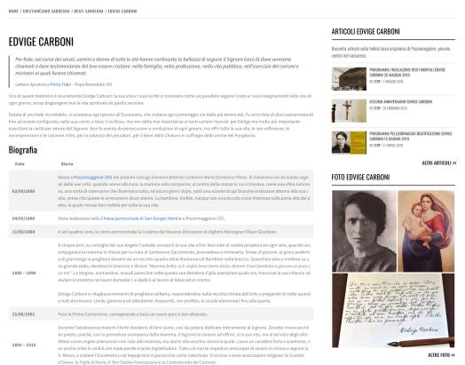 Area contenuto con pagina e widget attinenti