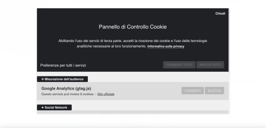 Pannello Controllo Cookie